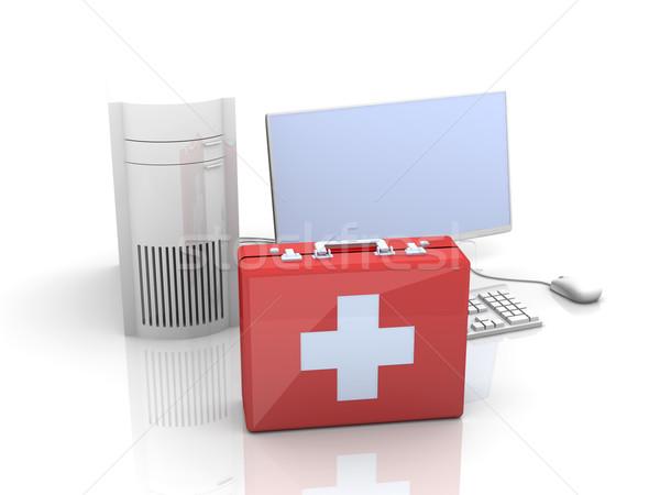 компьютер первая помощь 3d иллюстрации изолированный белый ноутбука Сток-фото © Spectral
