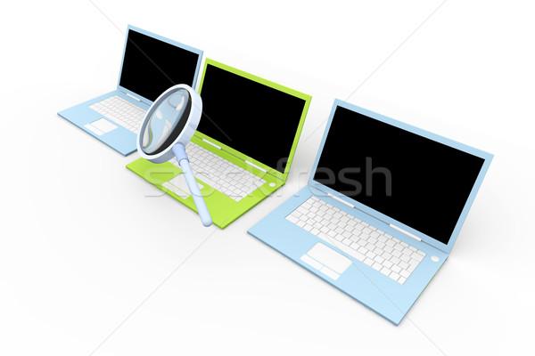 Laptop controleren 3d illustration geïsoleerd witte glas Stockfoto © Spectral