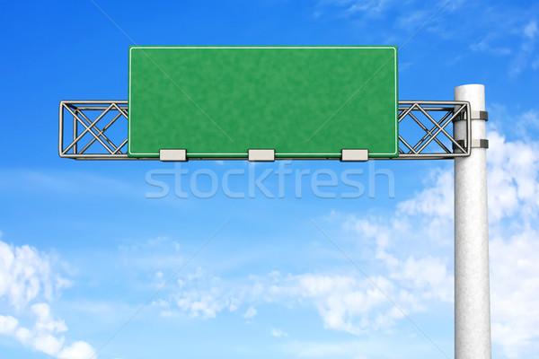 Vazio sinal da estrada 3D prestados ilustração rua Foto stock © Spectral