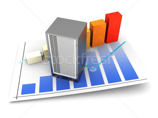 Sunucu istatistik bant genişliği 3D render yalıtılmış Stok fotoğraf © Spectral