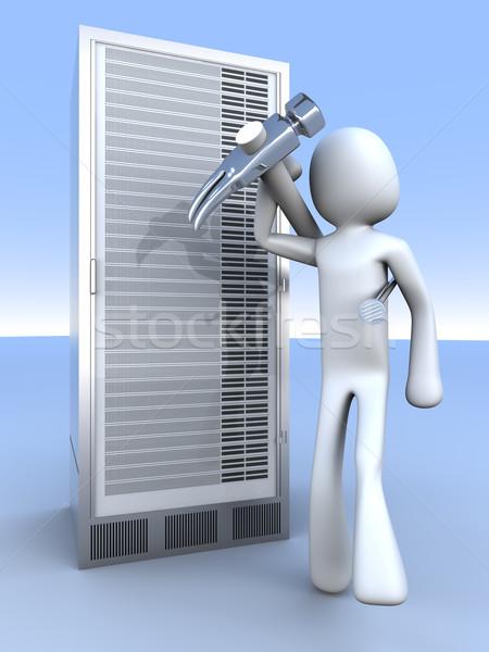 Server torre 3D reso illustrazione Foto d'archivio © Spectral