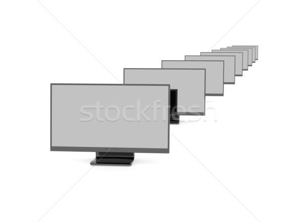 Preto lcd ilustração 3d televisão monitor tela Foto stock © Spectral