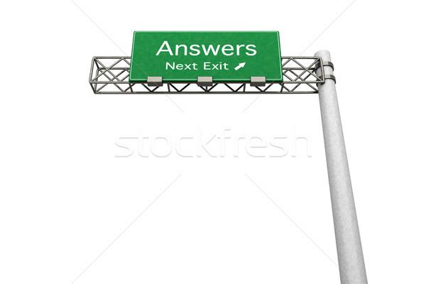Signe de route réponses 3D rendu illustration prochaine Photo stock © Spectral