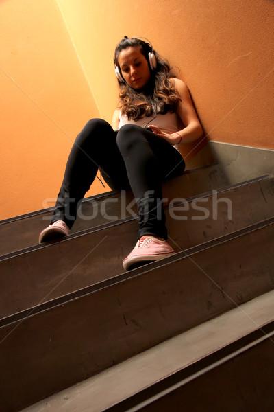 Melancólico escalera escuchar música sesión Foto stock © Spectral