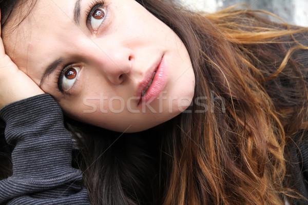 Melancólico escuchar música sesión pavimento Foto stock © Spectral