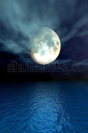 Holdfény óceán 3D renderelt illusztráció éjfél Stock fotó © Spectral