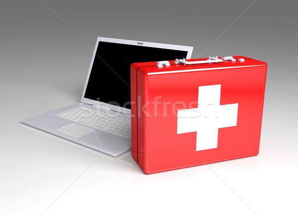 Laptop eerste hulp 3d illustration geïsoleerd witte toetsenbord Stockfoto © Spectral