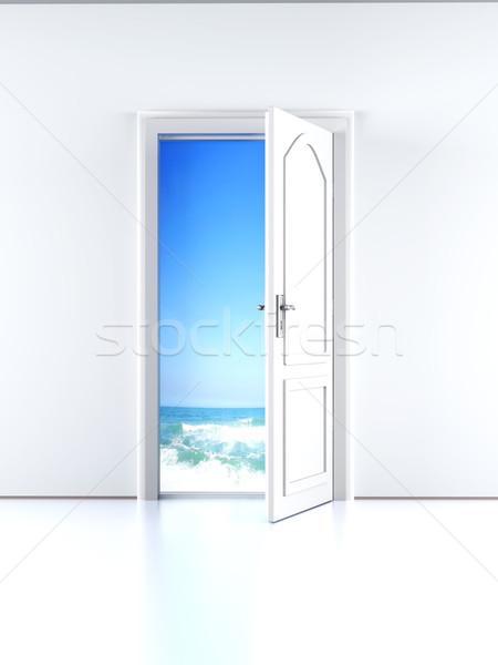 Foto stock: Porta · praia · abrir · a · porta · céu · água · parede