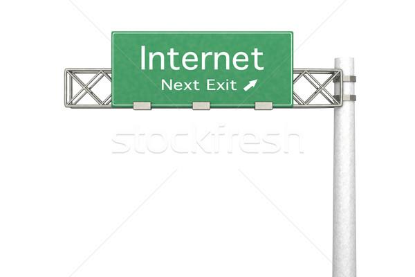 Znak autostrady Internetu 3D świadczonych ilustracja następny Zdjęcia stock © Spectral