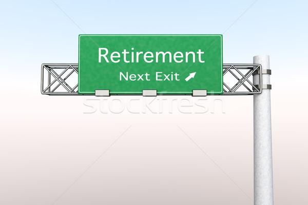 Otoyol işareti emeklilik 3D render örnek sonraki Stok fotoğraf © Spectral