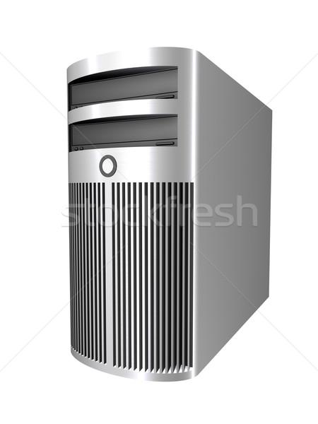 Chroom pc toren 3D gerenderd illustratie Stockfoto © Spectral