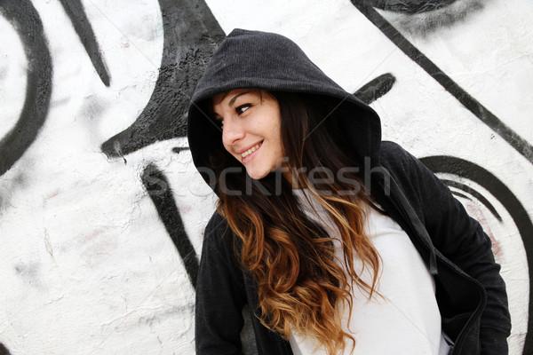 Lány dől fal fiatal nő nő város Stock fotó © Spectral