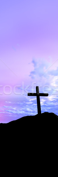 Kruis 3d illustration symbool christendom zonsondergang landschap Stockfoto © Spectral
