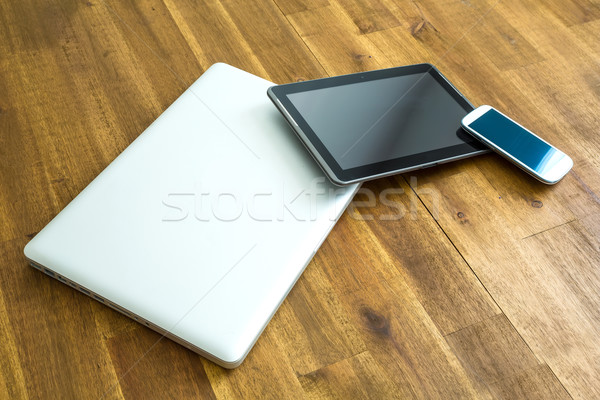 Digital devices on a wooden Desktop Stock photo © Spectral