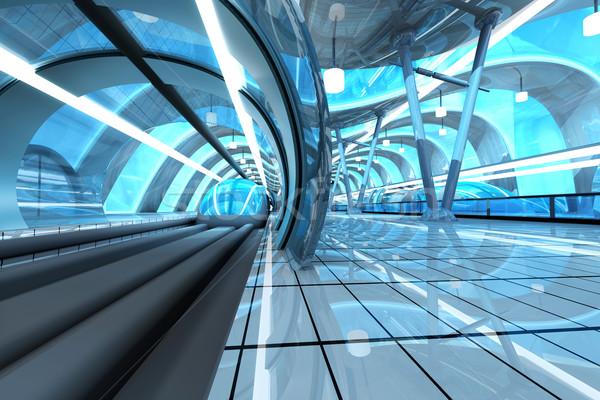 Futuriste métro gare gare 3D architecture Photo stock © Spectral