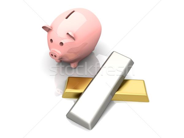 Kostbaar metaal spaargeld 3D gerenderd illustratie Stockfoto © Spectral
