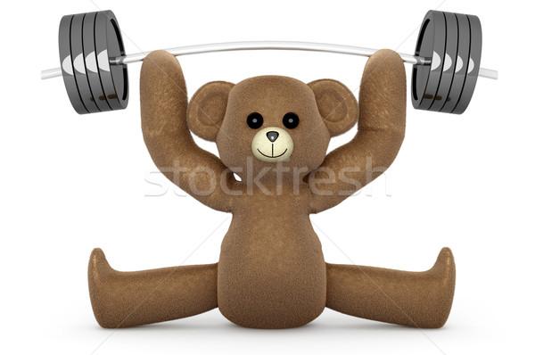 тяжелая атлетика Тедди мишка 3D оказанный иллюстрация Сток-фото © Spectral