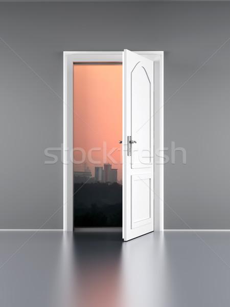 Deur Open deur stad muur zonsondergang natuur Stockfoto © Spectral