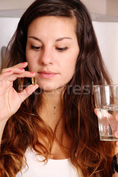 Hap genç kadın cam su kadın Stok fotoğraf © Spectral