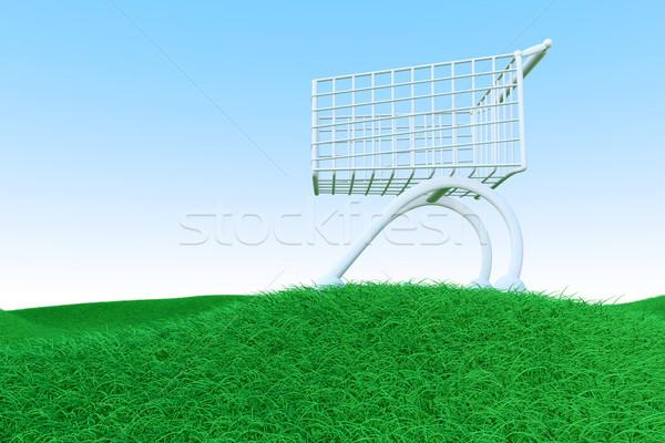 Carrello verde colline 3D reso illustrazione Foto d'archivio © Spectral