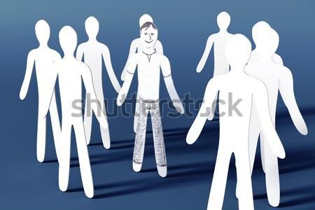 Feliz uno 3D prestados ilustración papel Foto stock © Spectral
