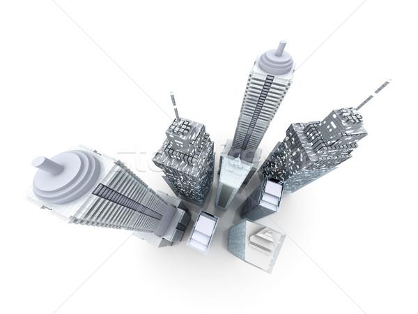 Ciudad moderna edificios 3D prestados ilustración Foto stock © Spectral