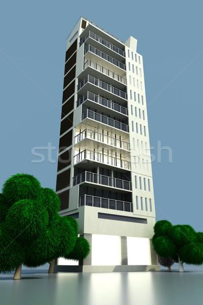 Modern bina çağdaş modern kentsel Bina 3d illustration Stok fotoğraf © Spectral
