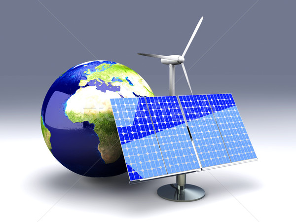 Alternatief energie Europa 3D gerenderd illustratie Stockfoto © Spectral