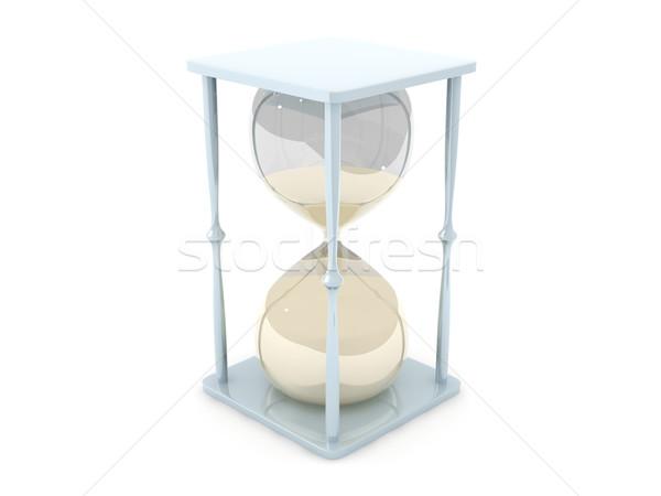 Zandloper 3d illustration glas tijd retro stress Stockfoto © Spectral