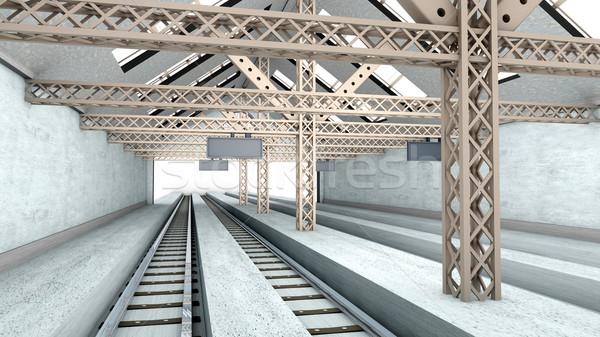 Antik vasútállomás 3D renderelt belső építészet Stock fotó © Spectral