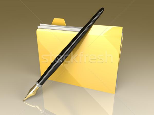 Documento carpeta escrito documentos dispositivo 3D Foto stock © Spectral