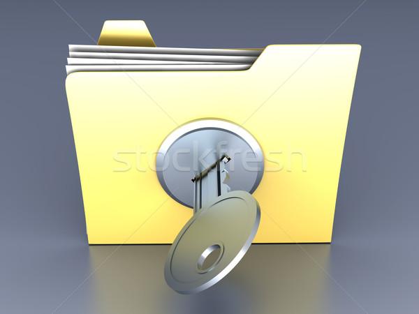 Dobrador trancado ilustração 3d papel projeto tecnologia Foto stock © Spectral
