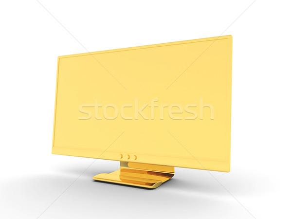 Gouden display 3d illustration geld televisie metaal Stockfoto © Spectral