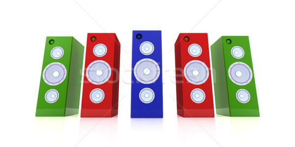 Színes hangfalak 3d illusztráció szín digitális stúdió Stock fotó © Spectral