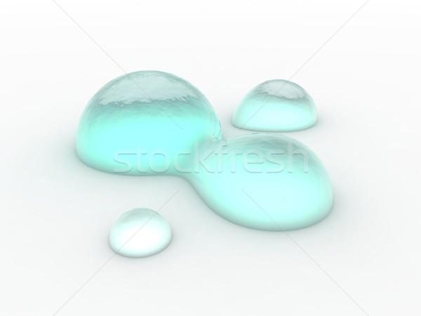 Waterdruppels 3D gerenderd geïsoleerd witte water Stockfoto © Spectral