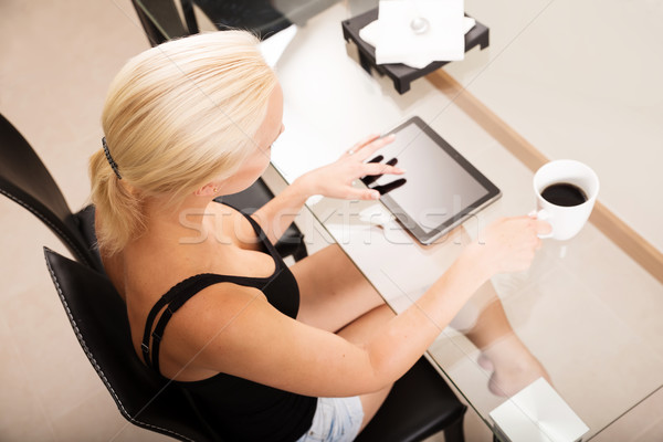 столе блондинка девушки стекла таблице Сток-фото © Spectral