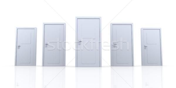Deuren 3D gerenderd illustratie geïsoleerd witte Stockfoto © Spectral