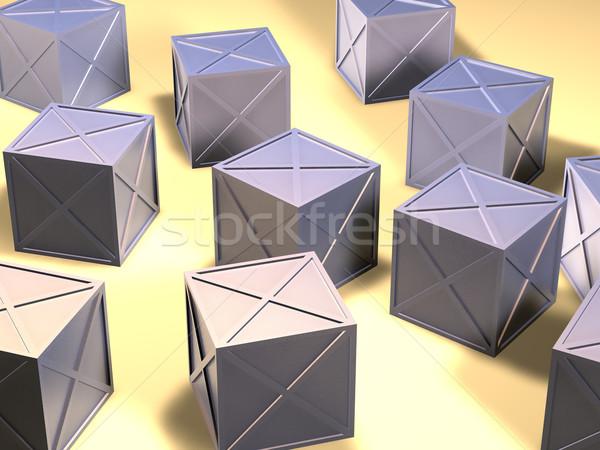 Ijzer dozen 3d illustration ruw materiaal metaal Stockfoto © Spectral