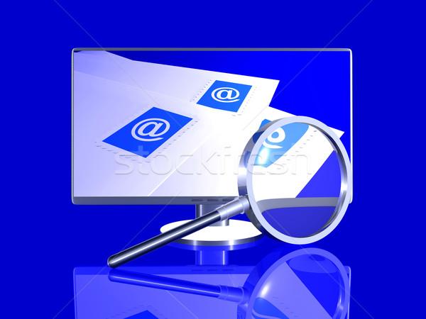 E-mail Zoek 3D gerenderd illustratie scherm Stockfoto © Spectral