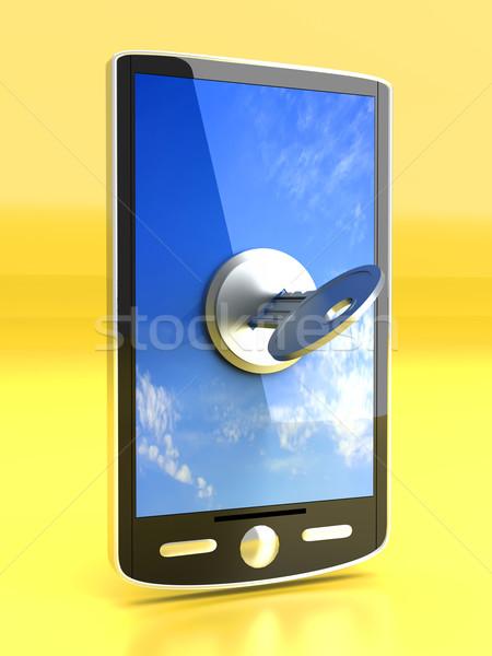 Zárolt okostelefon 3D renderelt illusztráció telefon Stock fotó © Spectral