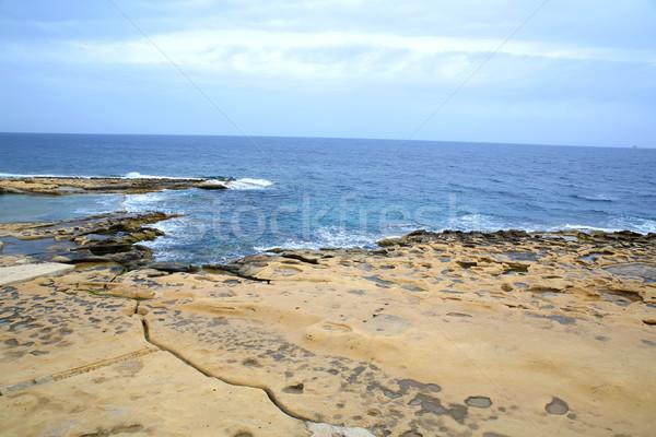Stockfoto: Kust · Malta · mistig · oceaan · horizon · strand