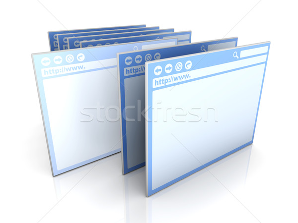 Stockfoto: Gekozen · browser · venster · 3D · gerenderd · illustratie