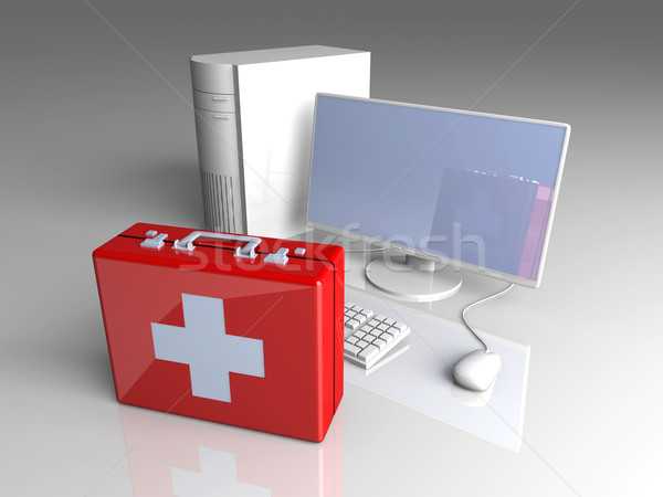 ストックフォト: コンピュータ · 応急処置 · 3D · レンダリング · 実例 · ノートパソコン