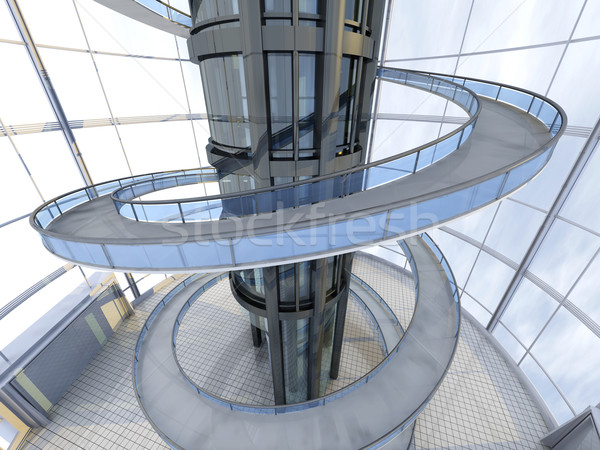 Futuristische architectuur science fiction 3D gerenderd illustratie Stockfoto © Spectral