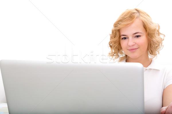 Mulher trabalhando laptop plus size adulto Foto stock © Spectral