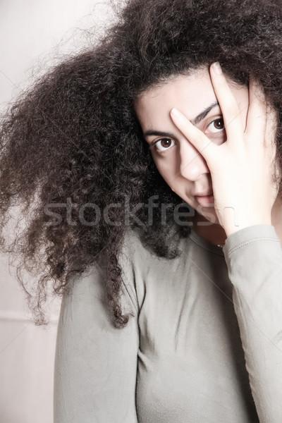 Tristesse portrait triste femme visage cheveux Photo stock © Spectral