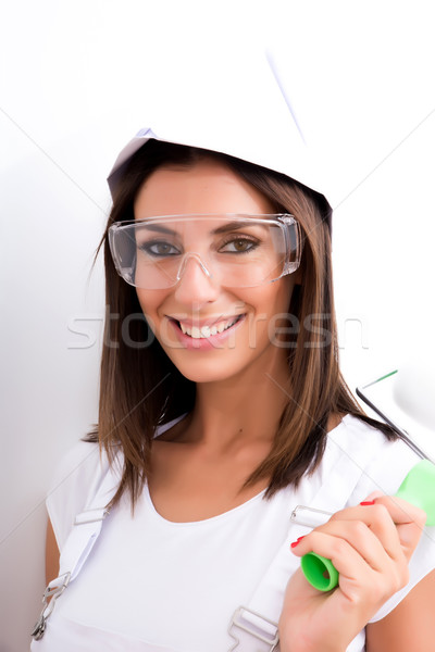 Beautiful young woman getting ready to paint	 Stock photo © Spectral