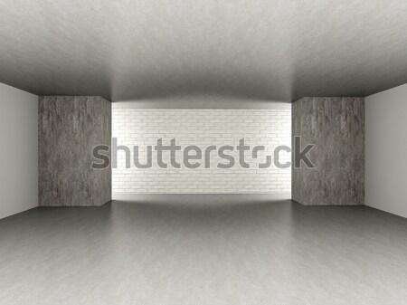 üres szoba 3D renderelt illusztráció sötét beton Stock fotó © Spectral