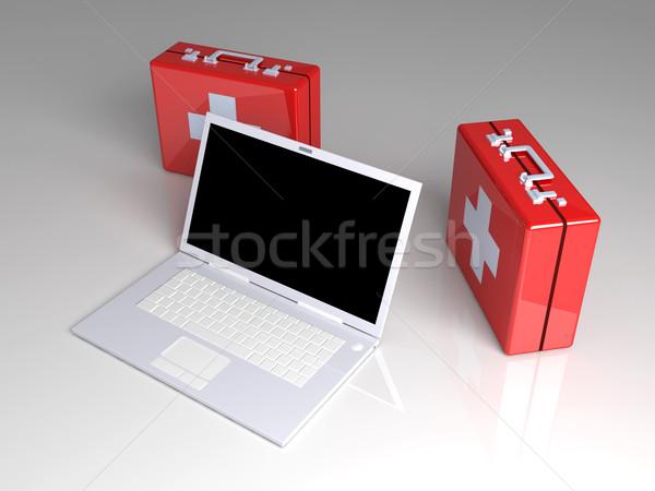 Portable premiers soins 3D rendu illustration clavier Photo stock © Spectral