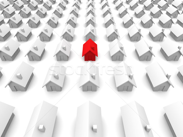 Toy houses - One is red